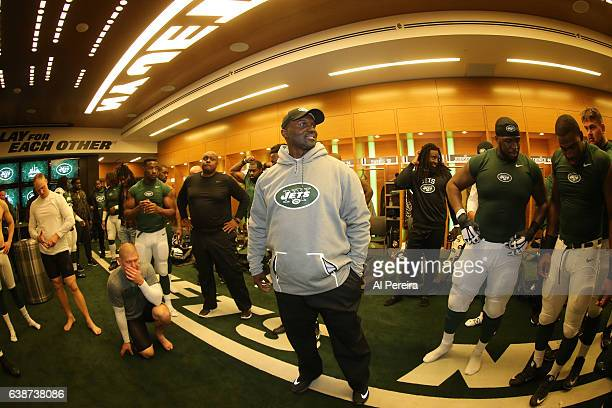 Head Coach Todd Bowles of the New York Jets addresses the team in the locker room after the game against the Buffalo Bills at MetLife Stadium on...