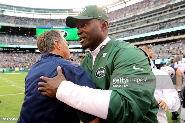 Head coach Todd Bowles of the New York Jets and head coach Bill Belichick of the New England Patriots shake hands after the Patriots' 2417 win at...