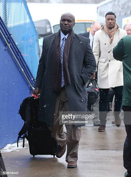 Head coach Todd Bowles of the New York Jets arrives at the stadium before the start of their game against the Buffalo Bills during NFL game action at...