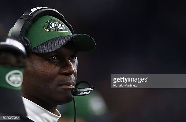 Head coach Todd Bowles of the New York Jets during play against the Dallas Cowboys at ATT Stadium on December 19 2015 in Arlington Texas