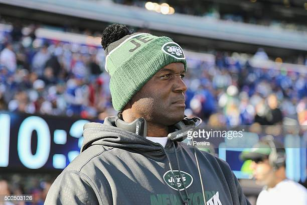 Head Coach Todd Bowles of the New York Jets follows the action against the New York Giants at MetLife Stadium on December 6 2015 in East Rutherford...