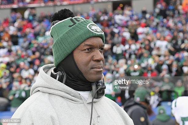Head Coach Todd Bowles of the New York Jets follows the action against the Buffalo Bills at Ralph Wilson Stadium on January 3 2016 in Orchard Park...