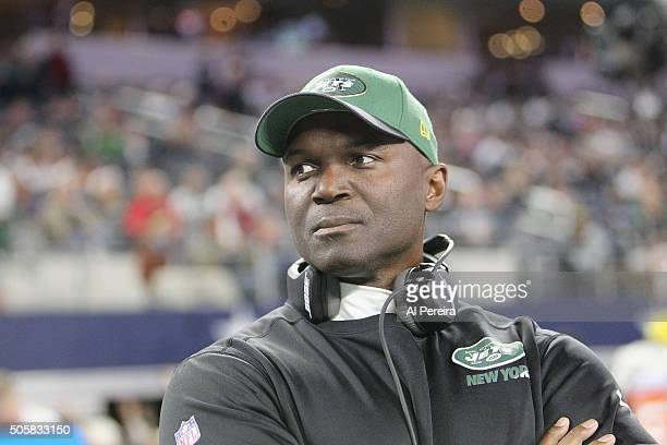 Head Coach Todd Bowles of the New York Jets follows the action against the Dallas Cowboys on December 19 2015 at ATT Stadium in Arlington Texas
