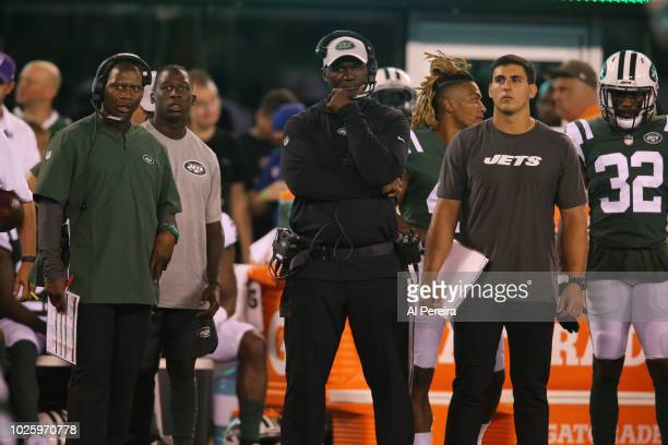 Head Coach Todd Bowles of the New York Jets in action against the New York Giants on August 24 at MetLife Stadium in East Rutherford NJ