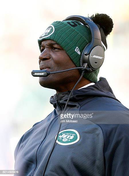 Head coach Todd Bowles of the New York Jets in action against the Miami Dolphins on November 29 2015 at MetLife Stadium in East Rutherford New Jersey...