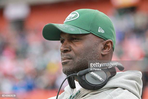 Head Coach Todd Bowles of the New York Jets in action against the Cleveland Browns at FirstEnergy Stadium on October 30 2016 in Cleveland Ohio