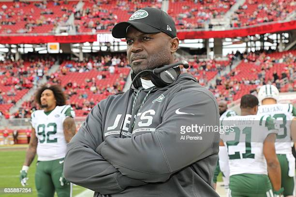 Head Coach Todd Bowles of the New York Jets in action against the San Francisco 49ers at Levi's Stadium on December 11 2016 in Santa Clara California