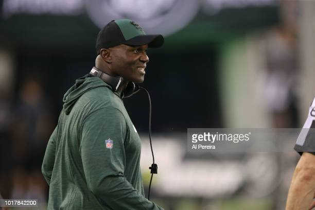 Head Coach Todd Bowles of the New York Jets in action during the preseason National Football League game between the New York Jets and the Atlanta...