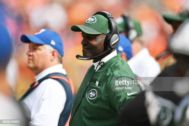 Head coach Todd Bowles of the New York Jets is seen in the in the first half against the Cleveland Browns at FirstEnergy Stadium on October 8 2017 in...