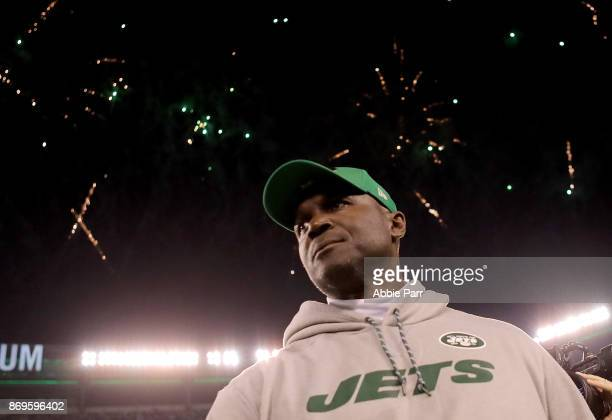 Head coach Todd Bowles of the New York Jets leaves the field following the Jets' 3421 win against the Buffalo Bills during their game at MetLife...