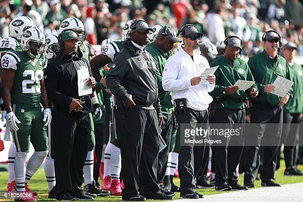 Head coach Todd Bowles of the New York Jets looks on against the Baltimore Ravens at MetLife Stadium on October 23 2016 in East Rutherford New Jersey
