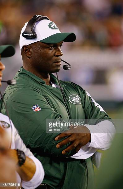 Head coach Todd Bowles of the New York Jets looks on against the Atlanta Falcons during their pre season game at MetLife Stadium on August 21 2015 in...