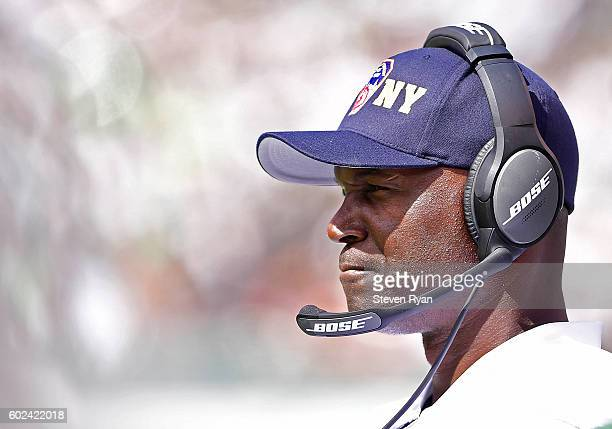Head coach Todd Bowles of the New York Jets looks on against the Cincinnati Bengals during the second quarter at MetLife Stadium on September 11 2016...