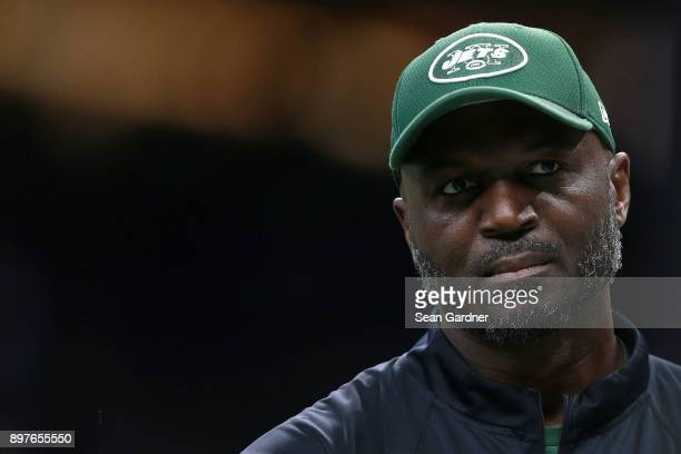 Head coach Todd Bowles of the New York Jets looks on as his team takes on the New Orleans Saints during a NFL game at the MercedesBenz Superdome on...