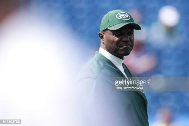 Head coach Todd Bowles of the New York Jets looks on before the game against Buffalo Bills on September 10 2017 at New Era Field in Orchard Park New...