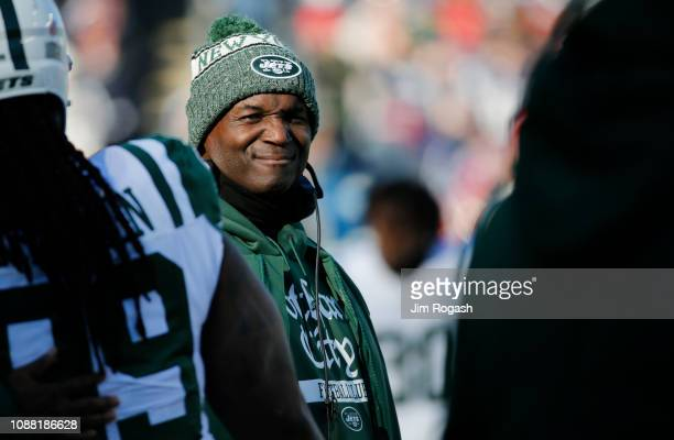 Head coach Todd Bowles of the New York Jets looks on during a game against the New England Patriots at Gillette Stadium on December 30 2018 in...