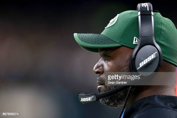 Head coach Todd Bowles of the New York Jets looks on during a NFL game against the New Orleans Saints at the MercedesBenz Superdome on December 17...
