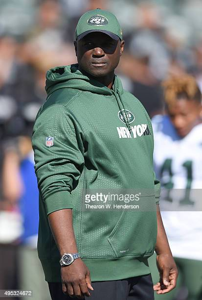 Head coach Todd Bowles of the New York Jets looks on during pregame warm ups prior to playing the Oakland Raiders in an NFL game at Oco Coliseum on...