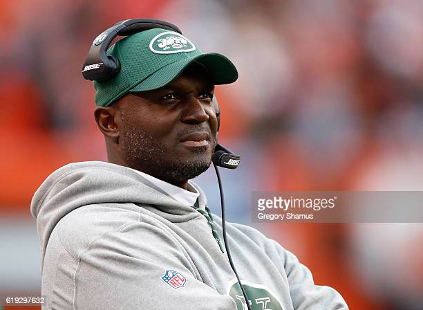 Head coach Todd Bowles of the New York Jets looks on during the fourth quarter against the Cleveland Browns at FirstEnergy Stadium on October 30 2016...