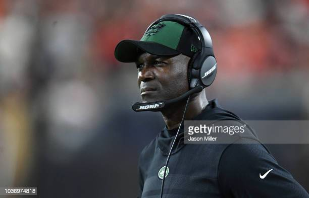 Head coach Todd Bowles of the New York Jets looks on during the third quarter against the Cleveland Browns at FirstEnergy Stadium on September 20...