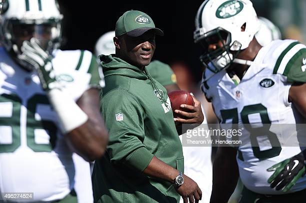 Head coach Todd Bowles of the New York Jets looks on during warm ups prior to playing the Oakland Raiders in their NFL game at Oco Coliseum on...