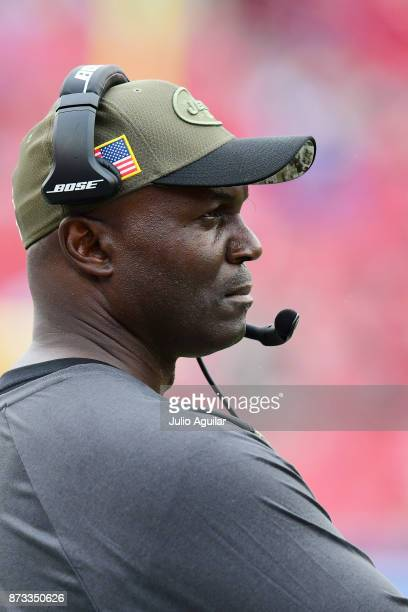 Head coach Todd Bowles of the New York Jets looks on from the sidelines during the fourth quarter against the Tampa Bay Buccaneers on November 12...