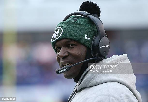 Head coach Todd Bowles of the New York Jets looks on from the sideline against the Buffalo Bills during NFL game action at Ralph Wilson Stadium on...