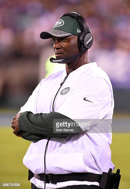 Head coach Todd Bowles of the New York Jets looks on from the sidelines against the New York Giants during the third quarter at MetLife Stadium on...