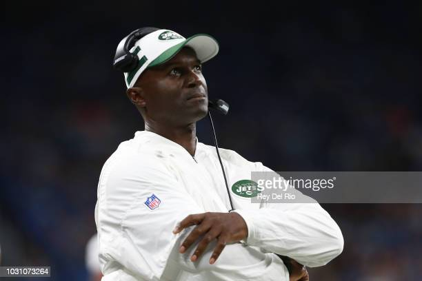 Head coach Todd Bowles of the New York Jets looks on in the second half against the Detroit Lions at Ford Field on September 10 2018 in Detroit...