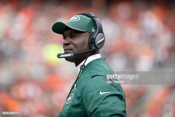 Head coach Todd Bowles of the New York Jets looks on in the second half against the Cleveland Browns at FirstEnergy Stadium on October 8 2017 in...