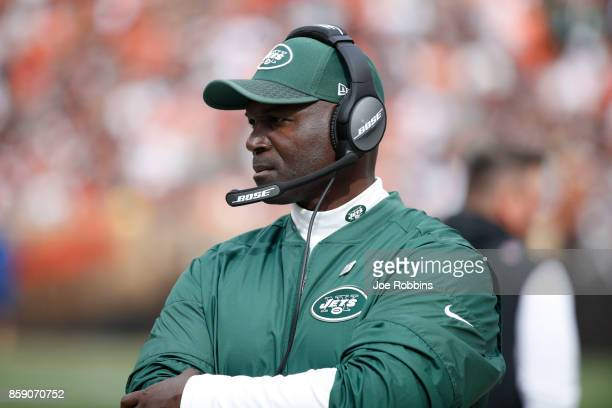 Head coach Todd Bowles of the New York Jets looks on in the third quarter against the Cleveland Browns at FirstEnergy Stadium on October 8 2017 in...