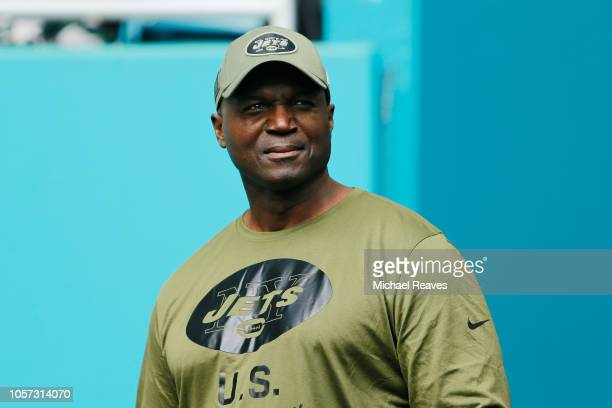 Head coach Todd Bowles of the New York Jets looks on prior to their game against the Miami Dolphins at Hard Rock Stadium on November 4 2018 in Miami...