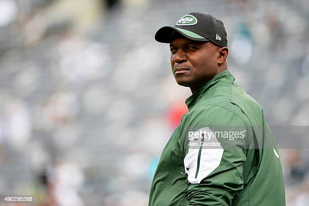 Head coach Todd Bowles of the New York Jets looks on prior to their game against the Philadelphia Eagles at MetLife Stadium on September 27 2015 in...