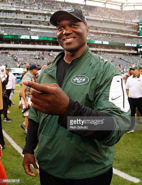 Head coach Todd Bowles of the New York Jets on the field after his team beat the Cleveland Browns 3110 for his first win as a head coach at MetLife...