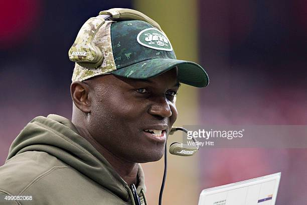 Head Coach Todd Bowles of the New York Jets on the sidelines watching the play during a game against the Houston Texans at NRG Stadium on November 22...