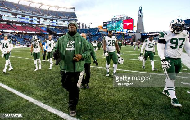 Head coach Todd Bowles of the New York Jets reacts after a game against the New England Patriots at Gillette Stadium on December 30 2018 in...