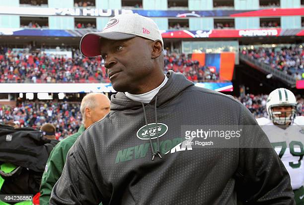 Head coach Todd Bowles of the New York Jets reacts after a game against the New England Patriots at Gillette Stadium on October 25 2015 in Foxboro...