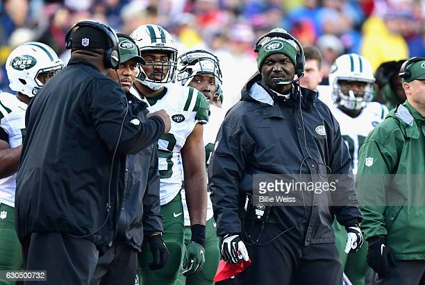 Head coach Todd Bowles of the New York Jets reacts during a game against the New England Patriots at Gillette Stadium on December 24 2016 in Foxboro...