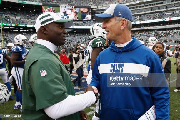 Head coach Todd Bowles of the New York Jets shakes hands with head coach Frank Reich of the Indianapolis Colts after their4234 win at MetLife Stadium...