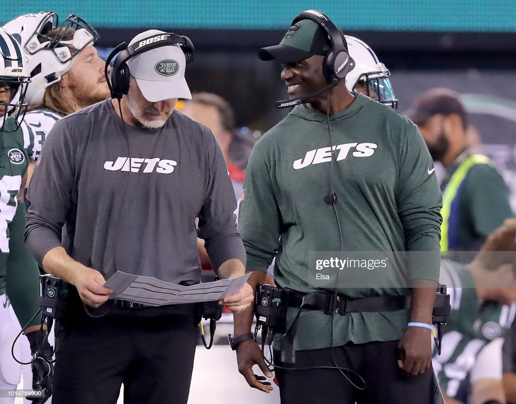 Head coach Todd Bowles of the New York Jets smiles in the first half against the Atlanta Falcons during a preseason game at MetLife Stadium on August 10, 2018 in East Rutherford, New Jersey.