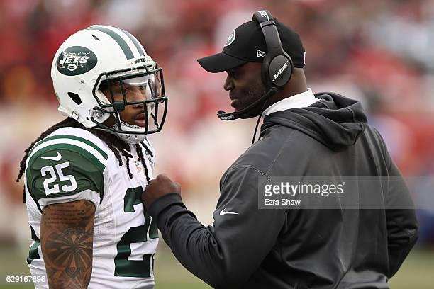 Head coach Todd Bowles of the New York Jets speaks with Calvin Pryor during their NFL game at Levi's Stadium on December 11 2016 in Santa Clara...