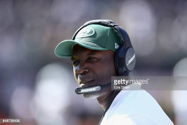 Head coach Todd Bowles of the New York Jets stands on the sideline during their game against the Oakland Raiders at OaklandAlameda County Coliseum on...