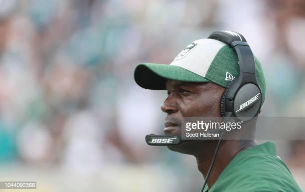 Head coach Todd Bowles of the New York Jets waits in the bench area during their game against the Jacksonville Jaguars at TIAA Bank Field on...