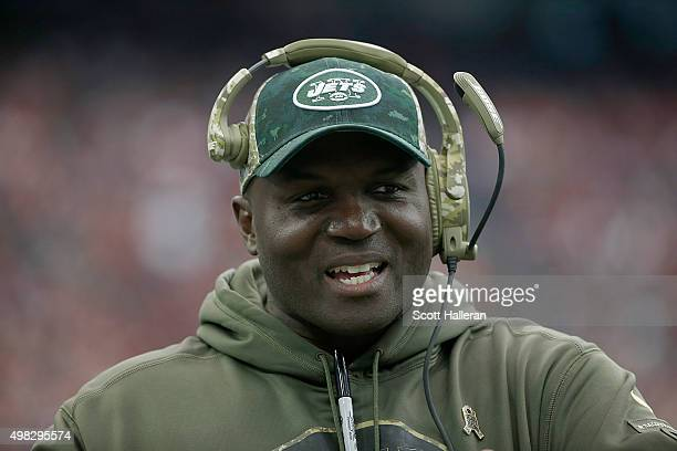 Head coach Todd Bowles of the New York Jets walks on the sidelines while coaching against the Houston Texans in the second quarter on November 22...