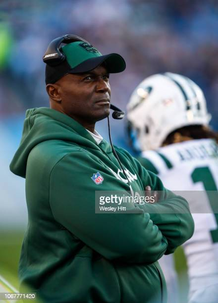 Head coach Todd Bowles of the New York Jets watches during the first quarter against the Tennessee Titans at Nissan Stadium on December 2 2018 in...