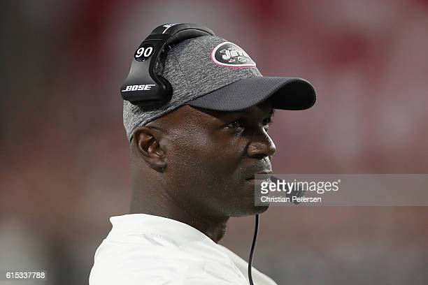 Head coach Todd Bowles of the New York Jets watches from the sidelines during the fourth quarter of the NFL game against the Arizona Cardinals at the...