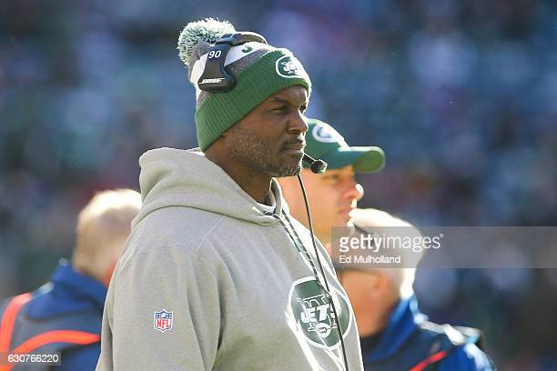 Head coach Todd Bowles of the New York Jets watches from the sideline during the first quarter of their game against the Buffalo Bills at MetLife...