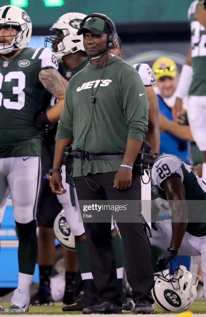 Head coach Todd Bowles of the New York Jets watches his team in the first half against the Atlanta Falcons during a preseason game at MetLife Stadium on August 10, 2018 in East Rutherford, New Jersey.