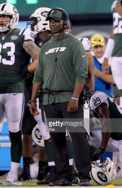 Head coach Todd Bowles of the New York Jets watches his team in the first half against the Atlanta Falcons during a preseason game at MetLife Stadium...