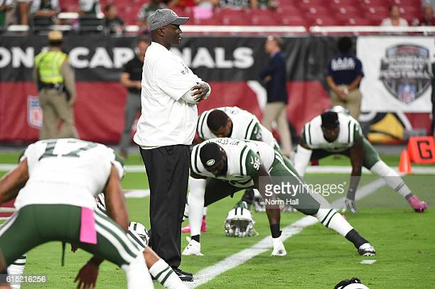 Head coach Todd Bowles of the New York Jets watches his team warm up prior to the NFL game against the Arizona Cardinals at University of Phoenix...